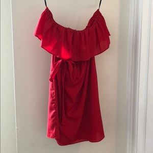 Red strapless ruffle top dress